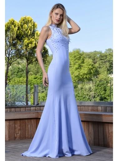 İroni Uzun Abiye Elbise Mavi